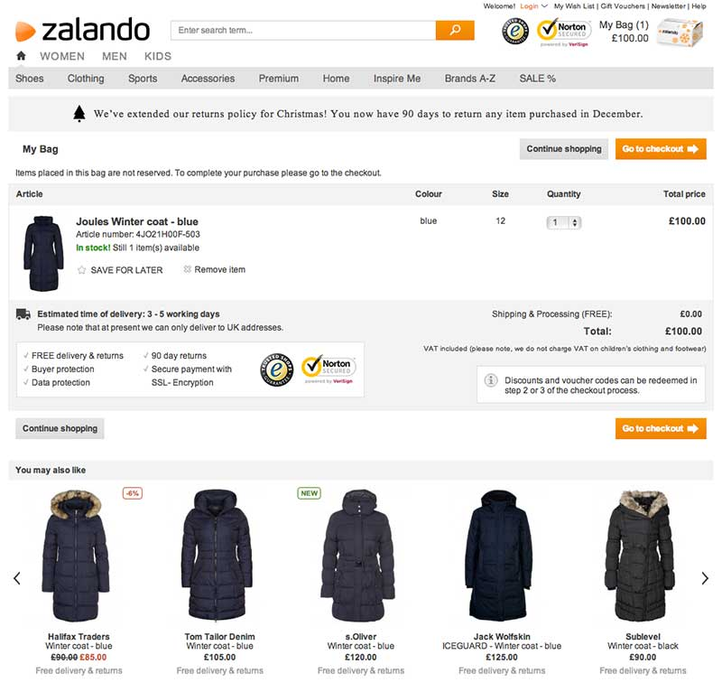 Zalando Recommendations in Cart Page