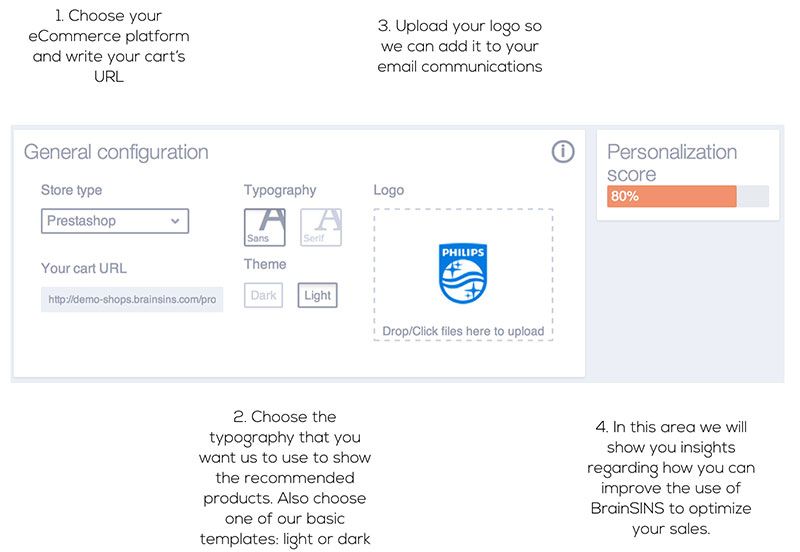 By means of 3 simple steps you can configure all your account settings to start to personalize your online store as soon as possible.