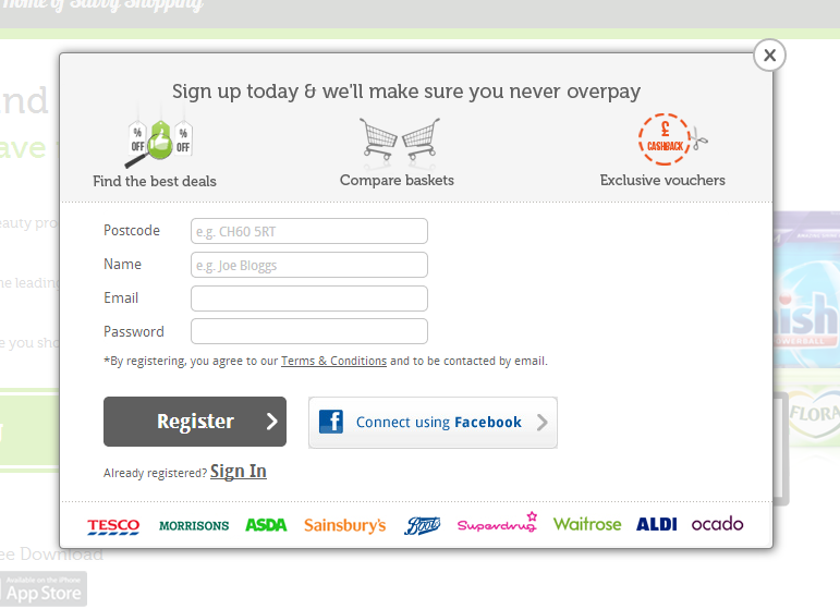 mySupermarket makes it very clear that signing up in their website is very easy and also explains the added value of registering.