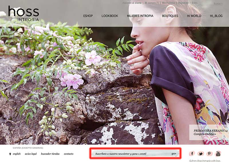Users who sign up for the Hoss Intropia newsletter stand to win €1,000.