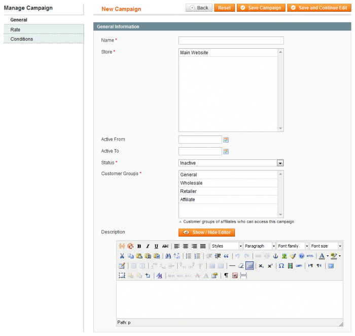A screenshot of the Magento backoffice with the Affiliate Connect: a simple way to manage affiliate campaigns from your Magento online store.
