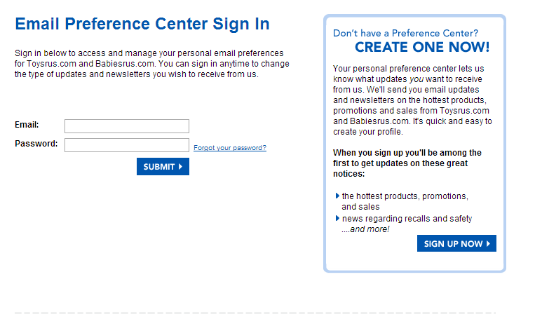 Toys'R Us makes the benefits of signing up for its newsletter very clear