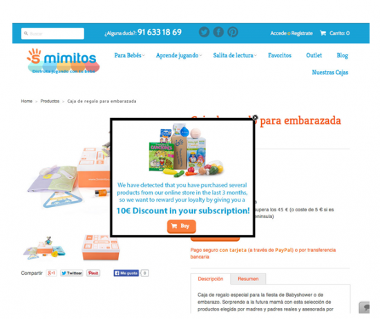 A popup in the e-store offering a good discount can force a sale or, in the case of 5mimitos, a new subscription.
